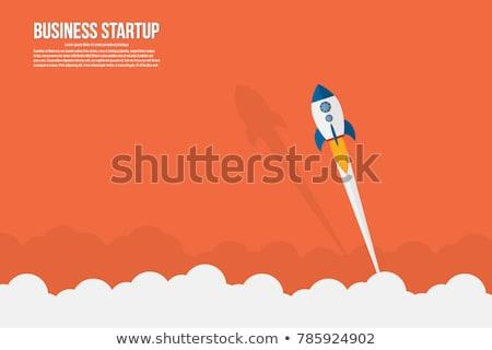 Rakéta indulás füst üzlet tervez kék Stock fotó © cifotart