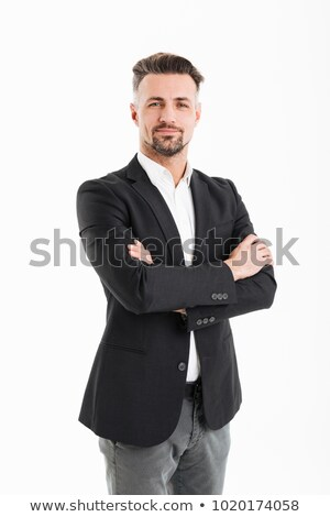 Image of adult employer man 30s in formal clothes working on com Stock photo © deandrobot