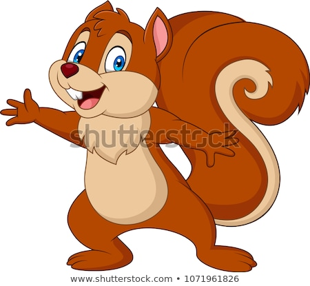 Cartoon eekhoorn glimlachend illustratie gelukkig jonge Stockfoto © cthoman