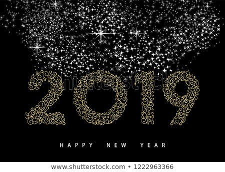 Happy new year altın monogram süs tebrik kartı doğrusal Stok fotoğraf © cienpies