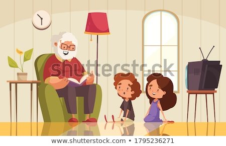 cute · weinig · kid · lezing · halloween · verhaal - stockfoto © ayelet_keshet