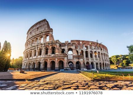 coliseo · puesta · de · sol · Roma · Italia · vista · edificio - foto stock © givaga