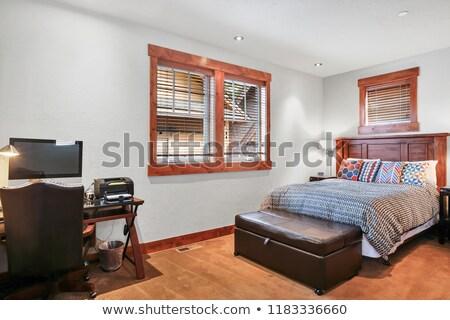 Holz · Schlafzimmer · Innenarchitektur · Bett · Blume · Holz - stock foto © iriana88w
