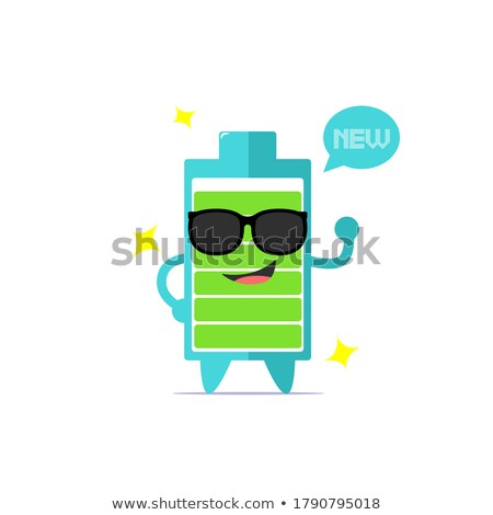 Funny Battery Cartoon Mascot Character With Sunglasses Wearing A Foam Finger Stock photo © hittoon