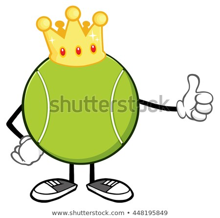 King Tennis Ball Cartoon Mascot Character Giving A Thumb Up Stock photo © hittoon