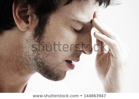 側面図 若い男 頭痛 座って ベッド 手 ストックフォト © AndreyPopov