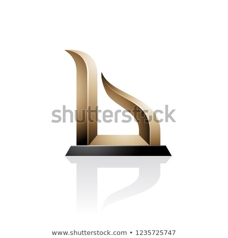 Beige and Black Bow-like Embossed Letter A Vector Illustration Stock photo © cidepix