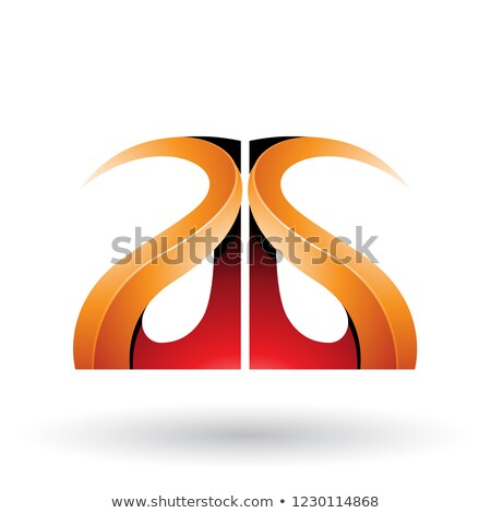 Orange and Red Glossy Curvy Embossed Letters A and G Vector Illu Stock photo © cidepix