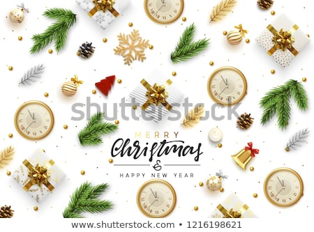 christmas web banner of gold baubles on pine tree stock photo © cienpies