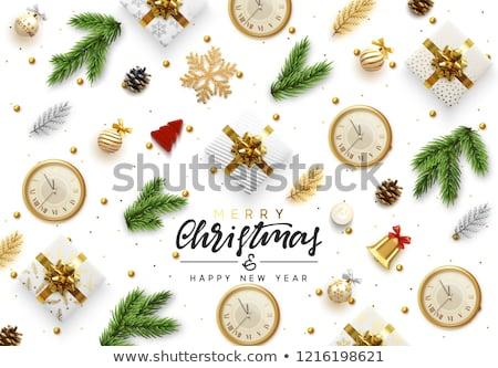 Noel web afiş altın çam ağacı neşeli Stok fotoğraf © cienpies