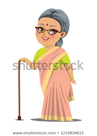 Indian Old Woman Vector. Hindu. Asian. Senior Person. Aged, Elderly People. Friends, Life. Face Emot Stock photo © pikepicture