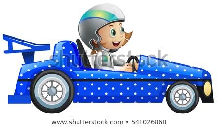 Little girl in polka dot racing car Stock photo © colematt