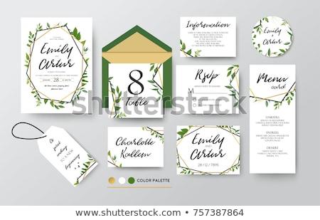 golden foliage wedding invitation template photo stock © ivaleksa