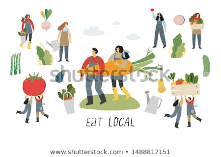 Sellers and Farmers Icons Set Vector Illustration Stock photo © robuart