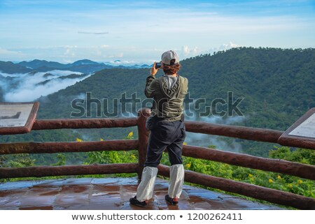 Female taking in the misty morning Blue Mountains scenery Stock photo © lovleah