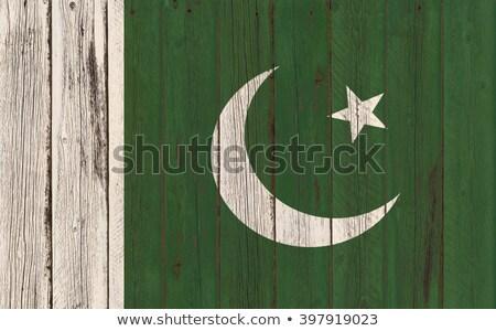 Vlag Pakistan houten frame illustratie hout ontwerp Stockfoto © colematt