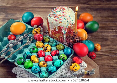 Easter painted chicken and quail eggs stock photo © furmanphoto