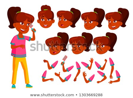 Indian Teen Girl Vector. Teenager. Cute, Comic. Joy. Face Emotions, Various Gestures. Animation Crea Stock photo © pikepicture