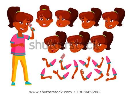 Stock fotó: Indiai · tinilány · vektor · tinédzser · aranyos · képregény