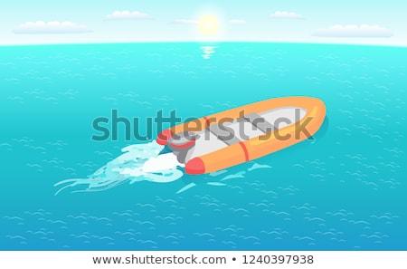 Inflável resgatar barco navegação profundo azul Foto stock © robuart