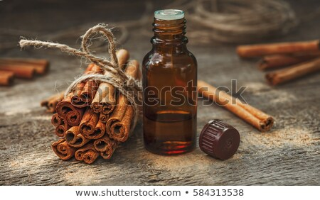 A bottle of cinnamon essential oil with cinnamon sticks Stock photo © madeleine_steinbach