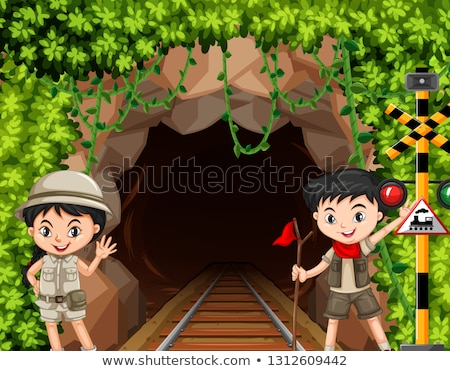 Boy and girl scout in front of tunnel Stock photo © bluering