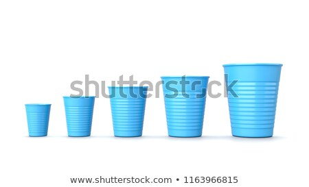 Dimensioni blu plastica coppe bianco set Foto d'archivio © make