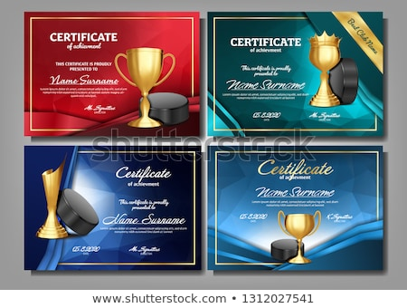 Certificate Diploma With Golden Cup Vector. Honor Background. Graduate Champion. A4 Frame. 3D Realis Stock photo © pikepicture