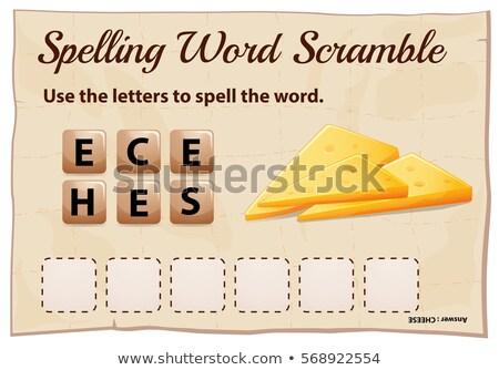Rechtschreibung Wort Spiel Vorlage Käse Illustration Stock foto © colematt