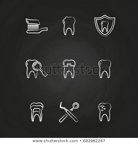 cool simple line drawing of tooth set stock photo © blue_daemon