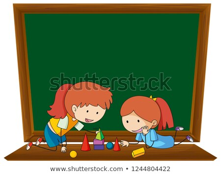 Girl leaning geometry on blackboard template Stock photo © colematt