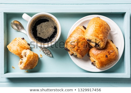 breakfast with mini fresh croissants bun with chocolate and coffee cup stock photo © melnyk