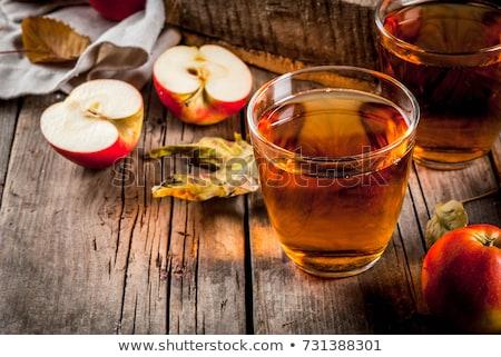 Szemüveg friss almalé almabor fény virág Stock fotó © furmanphoto