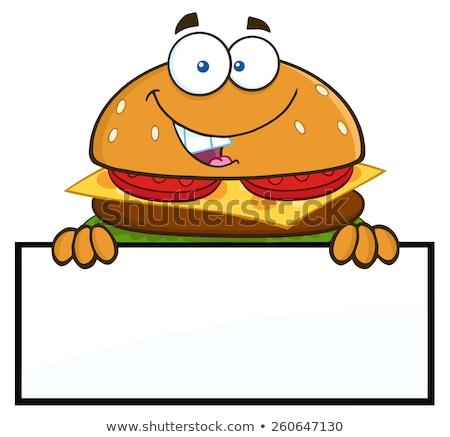 Hamburger rajzfilmfigura üres tábla izolált fehér étel Stock fotó © hittoon
