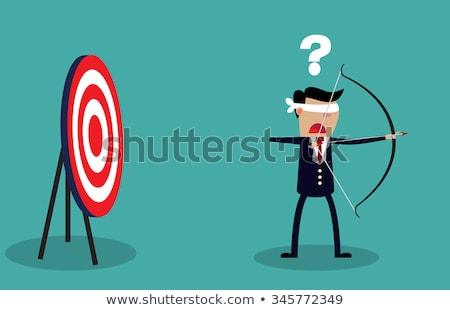 Business man holding big aim target. Flat vector illustration Stock photo © makyzz