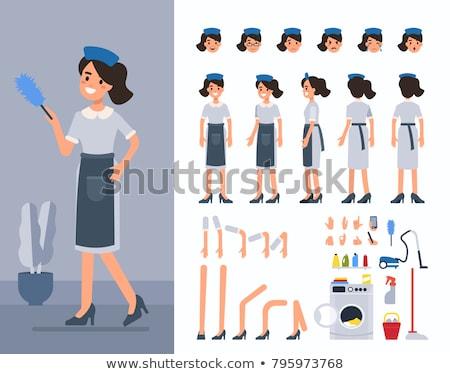 Zestaw pokojówka charakter ilustracja kobieta dziewczyna Zdjęcia stock © bluering