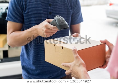 Shipment working delivery service concept, Messenger Leaving Par Stock photo © snowing