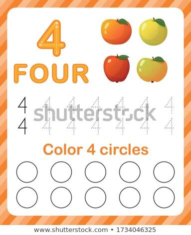 Matemáticas escrito número cuatro ilustración fondo Foto stock © colematt