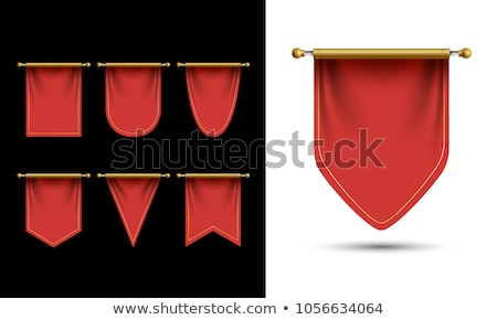 Red pennant hanging, mockup Stock photo © netkov1