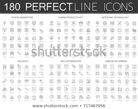 Coding System Vector Thin Line Icons Set Stock photo © pikepicture