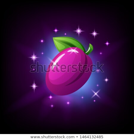 Purple plum with green leaf and sparkles, slot icon for online casino or logo for mobile game on dar Stock photo © MarySan