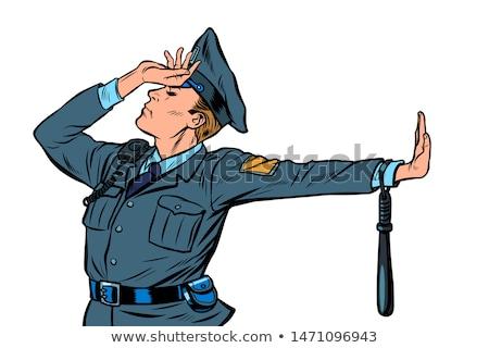 Caucasiano policial vergonha negação gesto não Foto stock © studiostoks