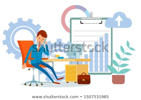 Businessman Talking on Phone Partner Infocharts Stock photo © robuart