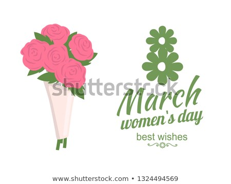 Best Wishes, Womens Day, Bouquet of Roses Vector Stock photo © robuart