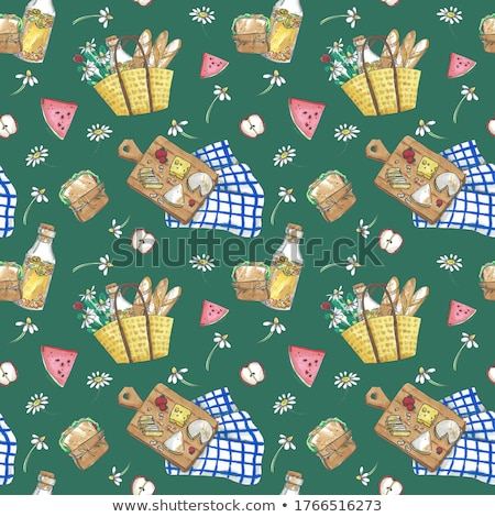 cartoon cute hand drawn picnic seamless pattern stock photo © balabolka