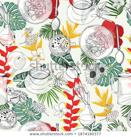 Stockfoto: Illustration With Healthy Breakfast Cereal Granola Tea Teapot