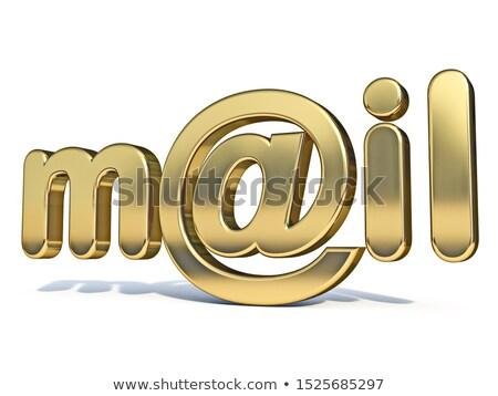 Gouden woord mail teken 3D Stockfoto © djmilic
