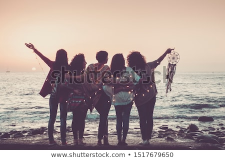 friend love concept of colorful happy friend hug stock photo © cienpies