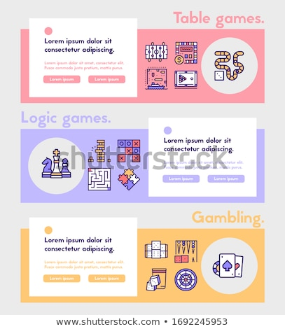 Billiards game linear landing page vector template Stock photo © Decorwithme