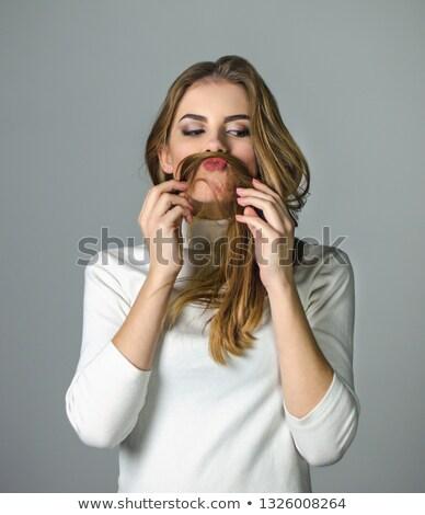 Mutlu genç kadın bıyık saç duygular Stok fotoğraf © dolgachov
